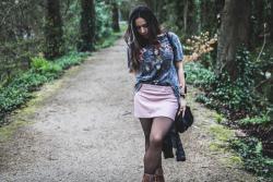 falda polipiel rosa zara