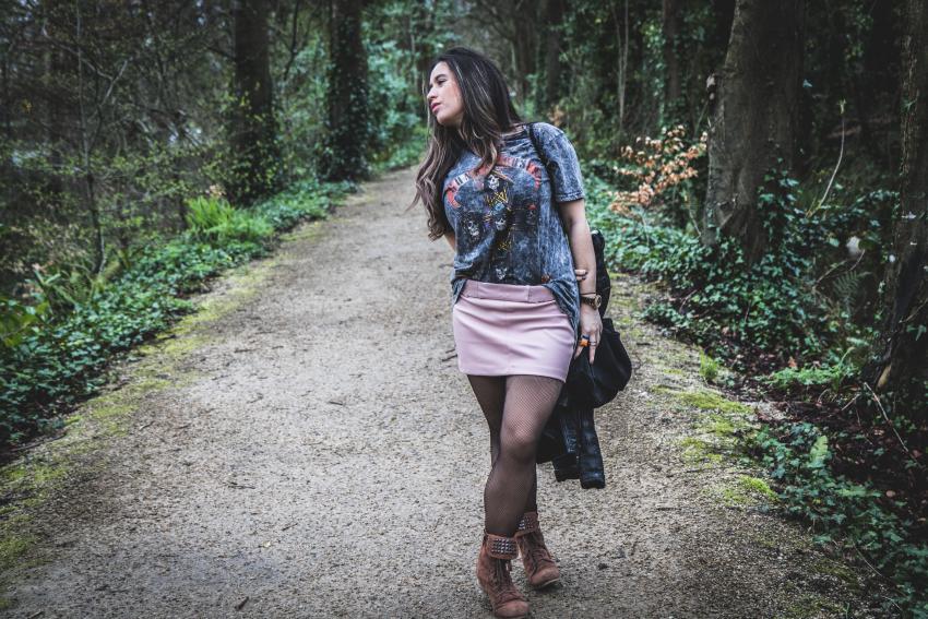 falda rosa zara